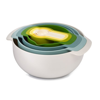 Joseph Joseph Nest™ 攪拌碗連量杯9件裝 - 自然綠