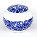 青花花卉茶葉罐