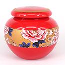 紅底花卉茶葉罐