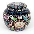 黑底彩花卉茶葉罐 - 大