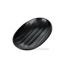 """黑色陶面 7.25"""" 橢圓形直條紋盤"""