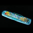 小熊維尼藍色餐具盒連筷子、匙羹