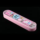 Hello Kitty粉紅色透明拉蓋餐具盒連(筷子、叉、匙)