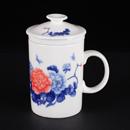 青花骨瓷牡丹直身茶隔杯