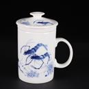 青花骨瓷蝦直身茶隔杯