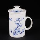 青花骨瓷鳥直身茶隔杯