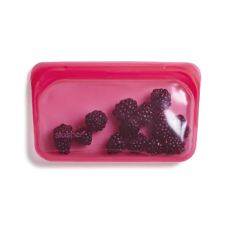 Stasher 矽膠密實袋 Snack - 樹莓紅