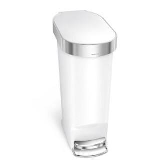 simplehuman 40L 窄身膠垃圾桶 - 白色
