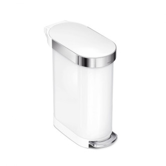 simplehuman 45L 不銹鋼窄身垃圾桶 - 白色鋼