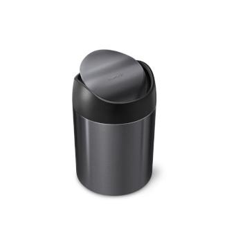 simplehuman 1.5L 不銹鋼免指紋搖蓋垃圾桶 - 黑色鋼