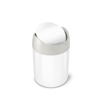 simplehuman 1.5L 鋼搖蓋垃圾桶 - 白色