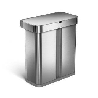 simplehuman 58L 免指紋不銹鋼長方聲控&自動感應環保垃圾桶