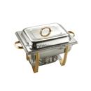 Regal 彎腳 1/2 長方形不銹鋼自助餐爐 (鍍鈦手柄和支架),可疊型