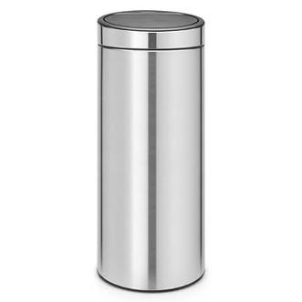 Brabantia 30L 圓形彈蓋垃圾桶 - 免指紋磨紗鋼色
