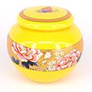 黃底花卉茶葉罐