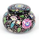 黑底花卉茶葉罐 - 小