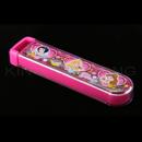 迪士尼公主粉紅色透明拉蓋餐具盒連(筷子、叉、匙)