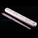 富貴貓粉紅色筷子盒連不銹鋼筷子