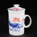 青花骨瓷荷花直身茶隔杯