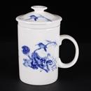 青花骨瓷清香直身茶隔杯