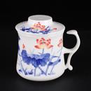 青花骨瓷荷花開耳茶隔杯