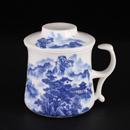 青花骨瓷青花山水開耳茶隔杯