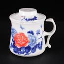 青花骨瓷牡丹開耳茶隔杯