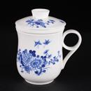青花骨瓷菊花雙蝶反口茶隔杯