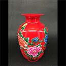 """9"""" 紅色牡丹花瓶"""