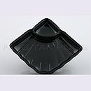 黑瓷貝殼形四方有格碟(有底坑)