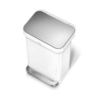 simplehuman 45L 免指紋鋼長方腳踏垃圾桶 - 白色