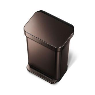 simplehuman 45L 免指紋不銹鋼長方腳踏垃圾桶 - 深銅色