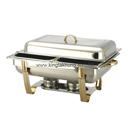 Regal 彎腳 1/1 長方形不銹鋼自助餐爐 (鍍鈦手柄和支架),雙食物盆,可疊型